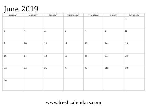 blank june  calendar printable templates