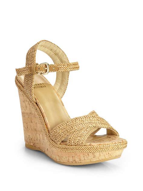 stuart weitzman minx espadrille cork wedge sandals in