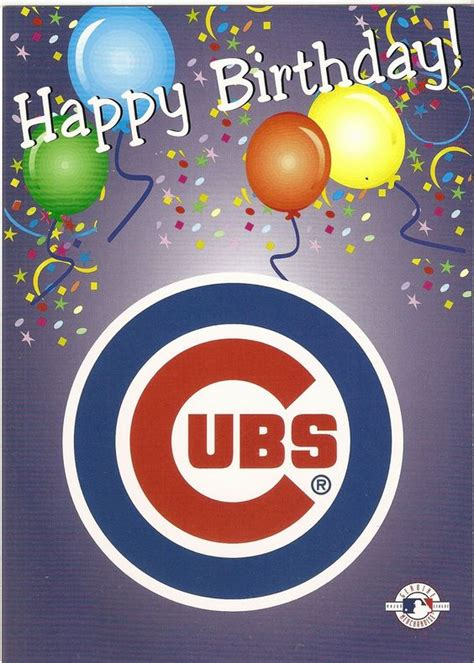 Chicago Cubs Birthday Card Chicago Cubs Happy Birthday Greeting Card Birthday