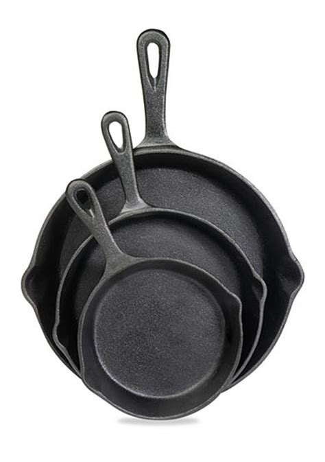 Cast Iron Fry Pan Set   cooks tools cast iron 3 piece fry pan set belk