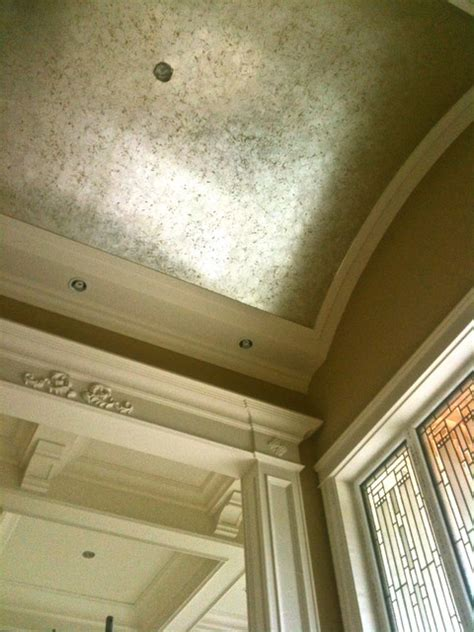 vaulted ceiling with silver leaf crackle finish over gold
