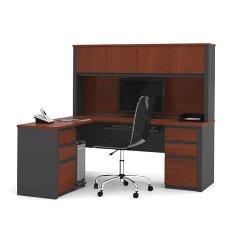 Bestar Computer Desk Bestar Prestige L Shape Wood Computer Desk In Bordeaux Graphite 99852 39