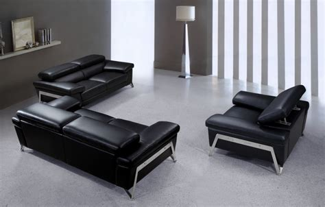 Black Leather Sofa Modern Encore Modern Black Leather Sofa Set