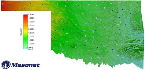 topographical map of oklahoma mesonet oklahoma topographic map