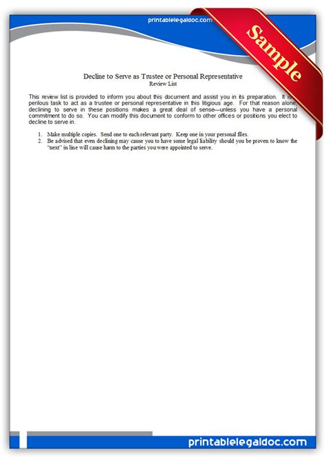 Free Printable Decline To Serve As Trustee Or Personal