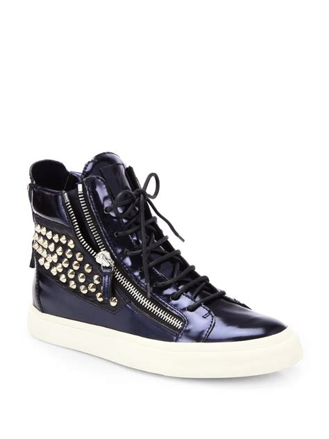 giuseppe sneakers for giuseppe zanotti studded doublezip leather hightop