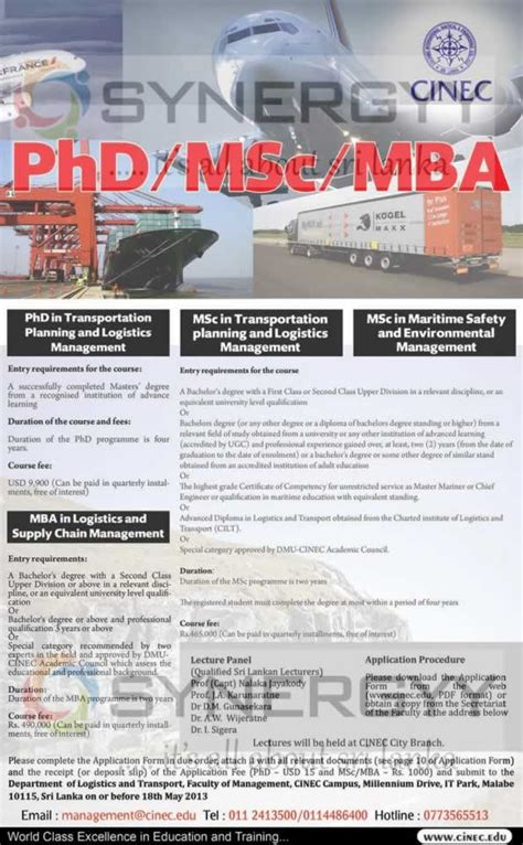 Mba In Safety Management In India by Phd Msc And Mba Degree Programme In Transportation
