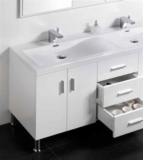 meuble de salle de bain sur pieds avec double vasque de  cm blanc ou gris laque hora