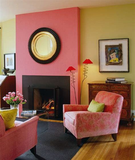 pink yellow wall color living room home paint