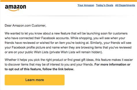 Amazon Leverages Facebook To Introduce New Social Features How To Introduce Your Company In An Email Template