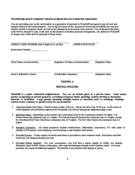 vacation rental short term lease agreement free download