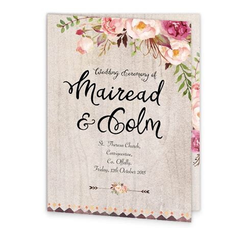 wedding invitation front cover flowering affection mass booklet cover loving invitations
