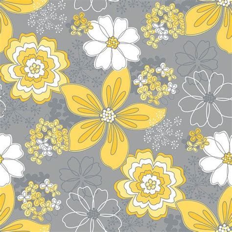 flower wallpaper grey grey flower and yellow dot fabric gray and yellow floral