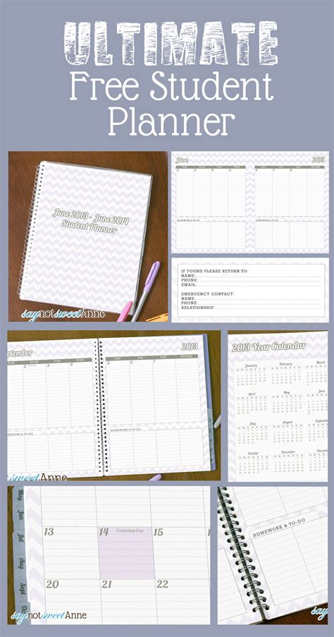 printable student homework planner june to june student planner 2013 school year sweet