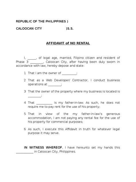 certification letter of no rental affidavit of no rental sle