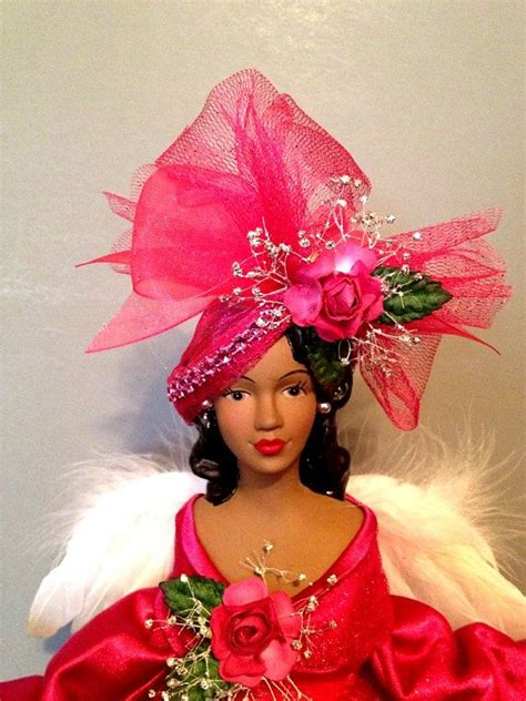 hot pink african american angel christmas tree by