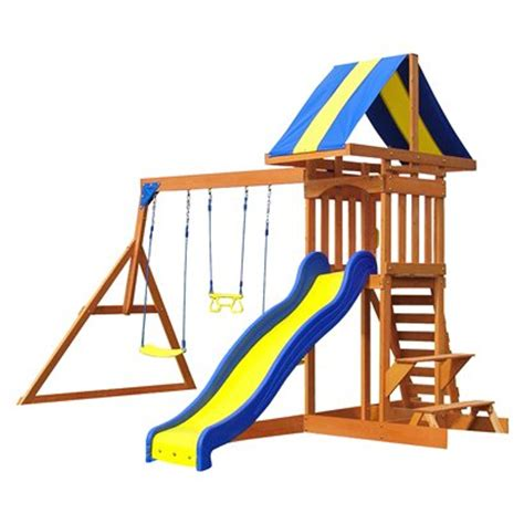 target swing set target awesome deal on an adventure playset all cedar
