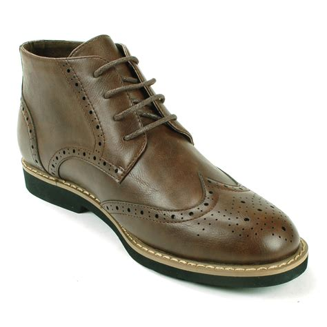 mens wing boots alpineswiss geneva mens ankle boots brogue medallion wing