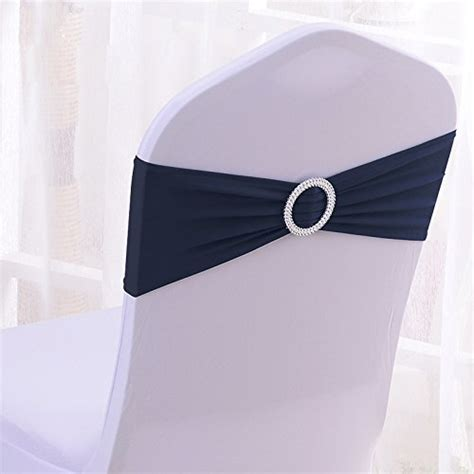 100pcs stretch wedding chair bands with buckle slider sashes bow decorations 10 colors navy
