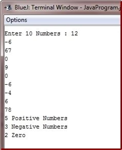 java pattern negation java program to count positive zero and negative numbers