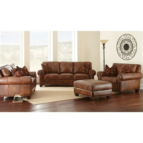 Silverado 4 Piece Leather Sofa Set In Caramel Brown Steve Silver Leather Sofa