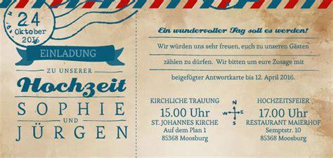 Hochzeitseinladung Als Ticket by Hochzeitseinladungen Ticket Airmail 4 You