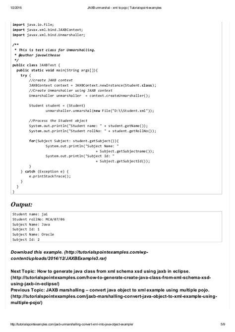 jaxb tutorial reading xml file jaxb unmarshal xml to pojo tutorialspoint exles