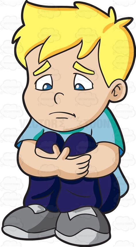 sad clipart a sad boy himself feel small clipart by vector