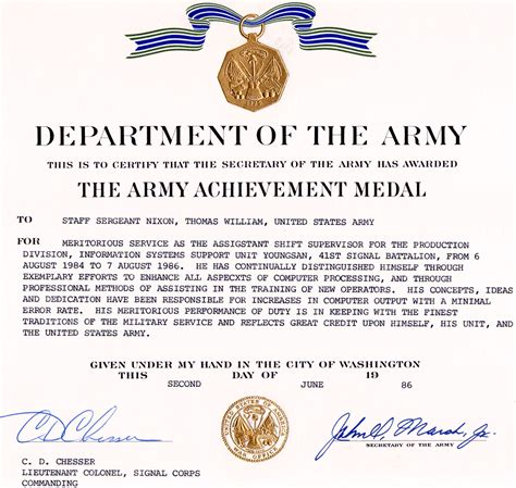 certificate of achievement template army army achievement medal