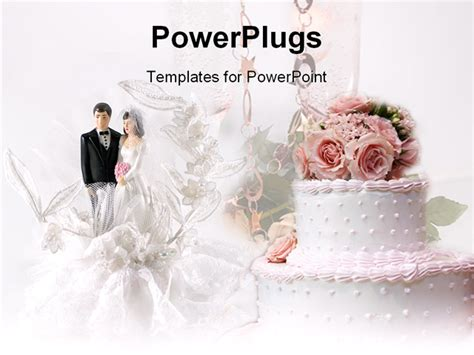 Powerpoint Template With Cake With Pink Flowers And Married Couple Figure 31028 Wedding Slideshow Template Powerpoint