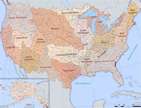 united states map showing major rivers imgur user shows map of every river basin in the us