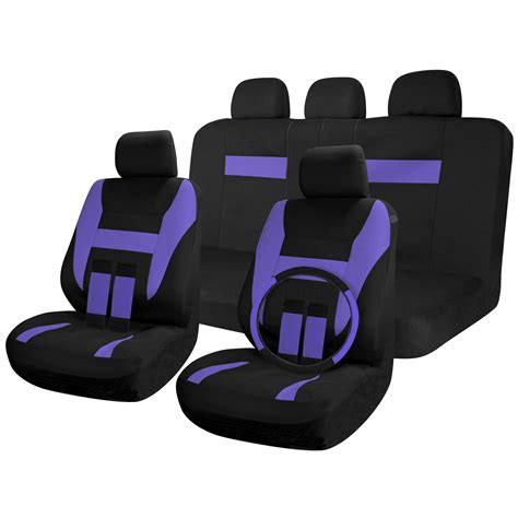 purple seat covers for cars car seat covers black purple 17pc set for auto