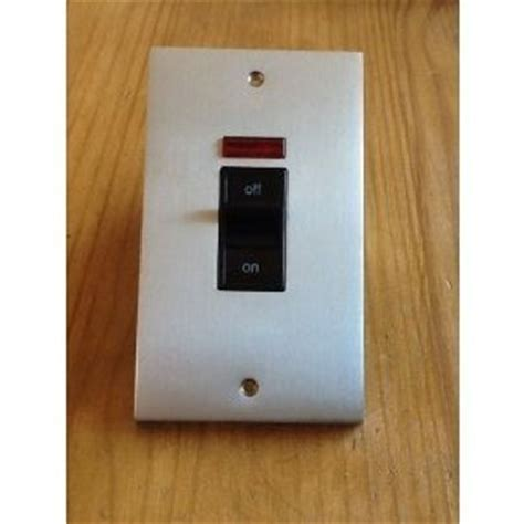 Safety Box Bni mk alloy 45a dp cooker switch with neon brushed nickel