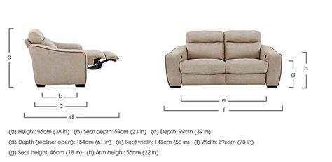 reclining chair dimensions cressida 3 seater fabric recliner sofa furniture village