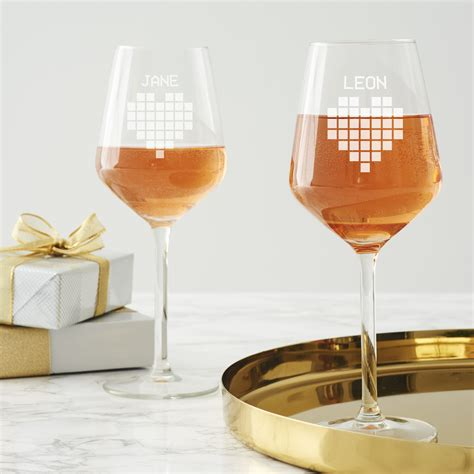 personalised pixel heart wine glass set becky broome