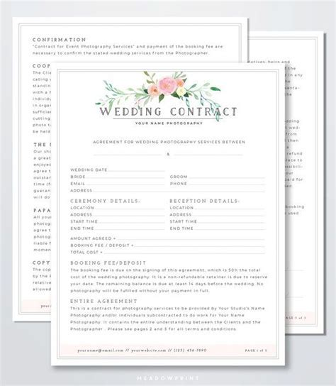Wedding Photography Contract Template   Client Booking