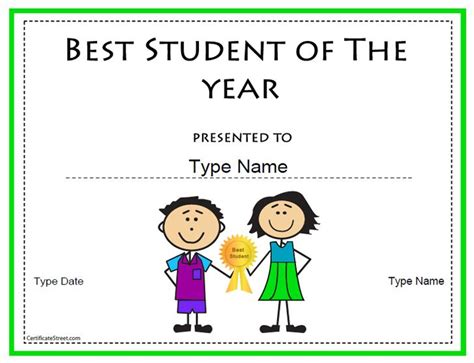 student of the year award certificate templates education certificate best student of the year