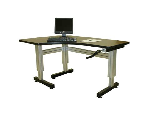 Variable Height Computer Desk Offset Corner Hand Crank Adjustable Height Desks Ergosource