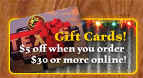 Texas Roadhouse Gift Card Balance - texas roadhouse gift card bonus deal spend 30 get 5 bonus bargain believer