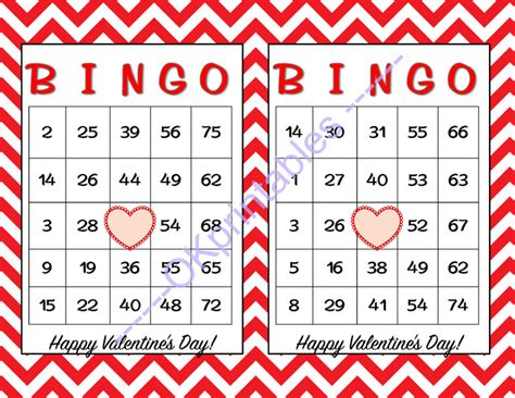 60 happy valentines day bingo cards by okprintables on