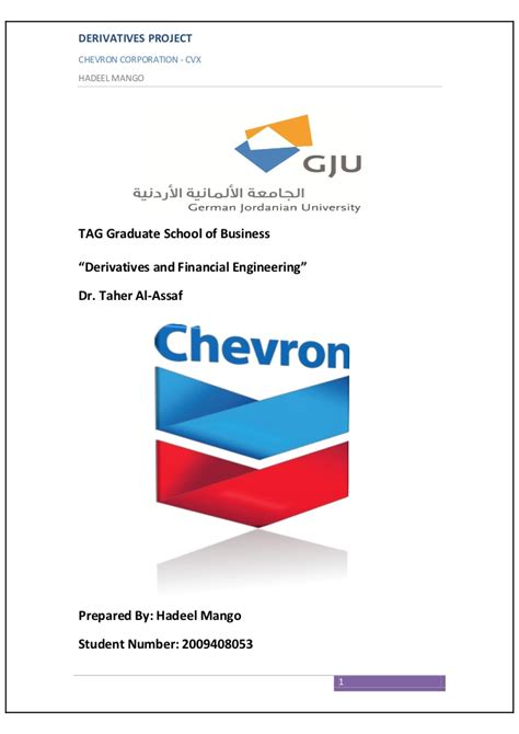 Mba Funding Corp by Chevron Derivatives And Financial Engineering Project