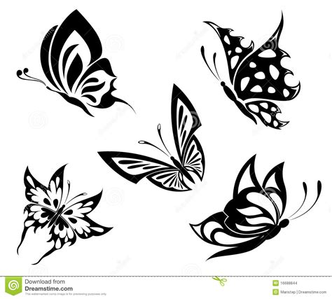 tattoo pictures black and white set black white butterflies of a tattoo stock vector