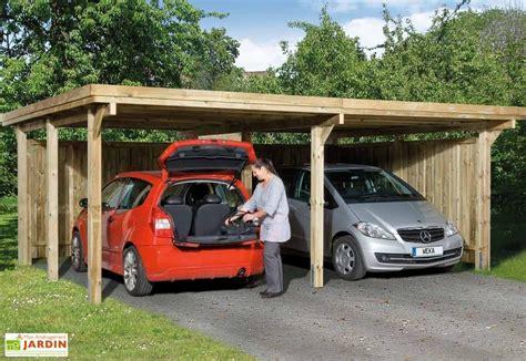 Carport 2 Voitures Bois 6559 by Carport Bois Optima Duo 2 Voitures Plusieurs Tailles