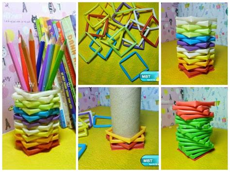 Paper Straw Crafts - diy pencil holder from straws and toilet paper