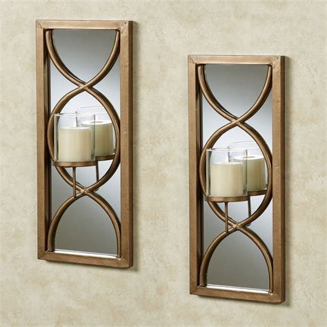 Gold Sconces Gold Mirrored Wall Sconce Pair