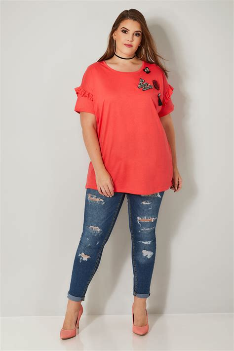 Embellished Sleeve Shirt limited collection coral embellished t shirt with frill