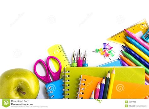 background design school school supplies on white background stock photo image