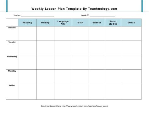 daily planner template teachers blank lesson plan template weekly lesson plan template