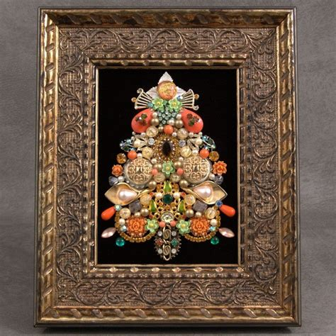 divine vintage jewelry christmas tree framed art pin