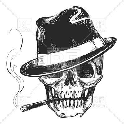gangster skull head  cigar  hat vector image